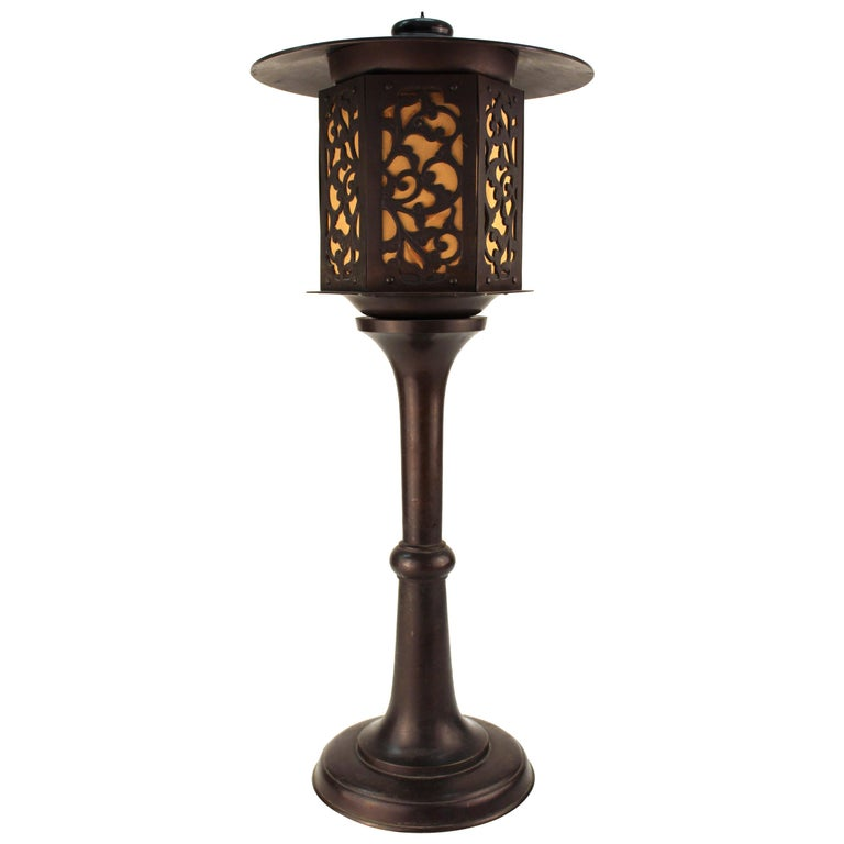 Japanese Meiji Period Bronze Lantern Table Lamp For Sale