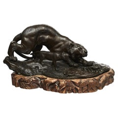 Japanese Meiji Period Bronze Tiger with Cub