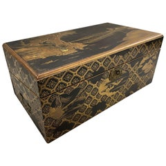 Japanese Meiji Period Carved and Gilt Lacquer Writing Box or Lap Desk