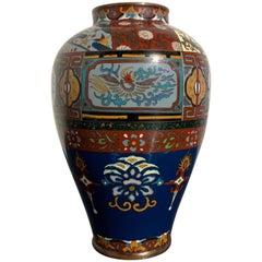 Japanese Meiji Period Cloisonne and Goldstone Vase