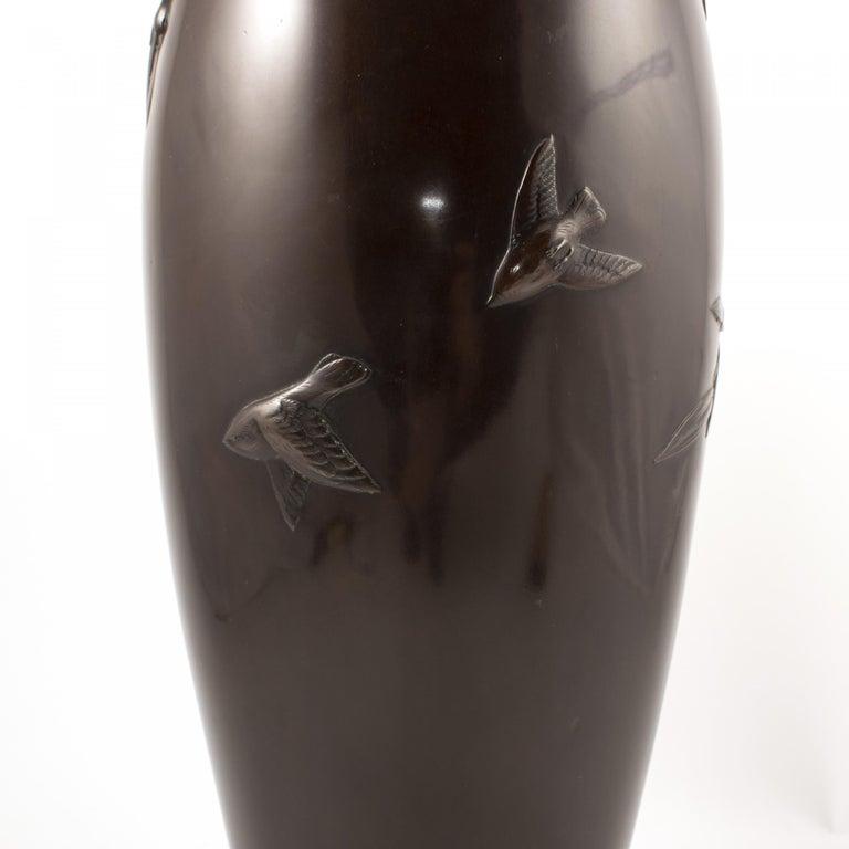 Art Nouveau Japanese Meiji Period Dark Patinated Bronze Vase For Sale