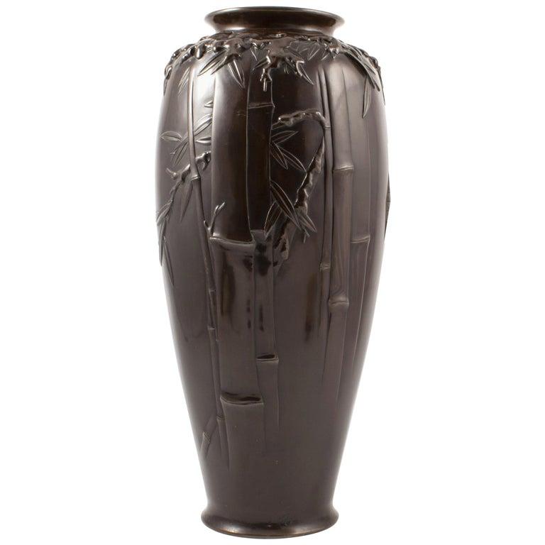 Japanese Meiji Period Dark Patinated Bronze Vase For Sale
