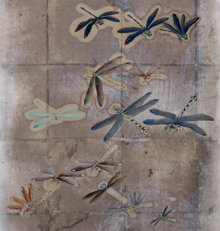 Japanese Meiji Period Dragonfly Screen on Silver Leaf, Kawabe Kakyo In Fair Condition For Sale In Kyoto, JP