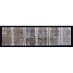 Japanese Meiji Period Dragonfly Screen on Silver Leaf, Kawabe Kakyo