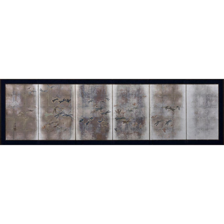 Japanese Meiji Period Dragonfly Screen on Silver Leaf, Kawabe Kakyo For Sale
