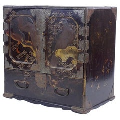 Japanese Meiji Period Gilded & Lacquered Cabinet Adorned with Eagles/Butterflies