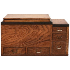 Japanese Meiji Period Keyaki Wood Hibachi with Copper Liner and Drawers
