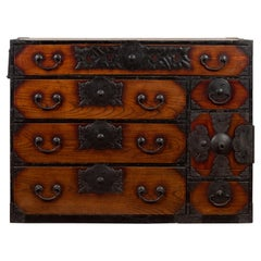 Japanese Meiji Period Keyaki Wood Tansu Clothing Chest in the Sendai Style