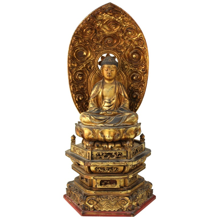 Japanese Meiji Period Lacquered Wood Buddha with Mandorla For Sale