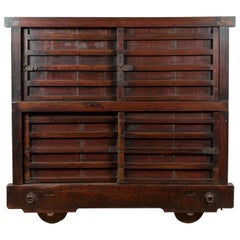 Japanese Meiji Period Late 19th Century Merchant's Chest Mounted on Wheels