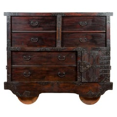 Japanese Meiji Period Late 19th Century Merchant's Chest with Safe on Wheels