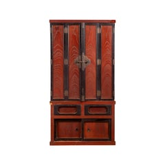 Japanese Meiji Period Late 19th Century Red and Black Altar Shrine Wood Cabinet