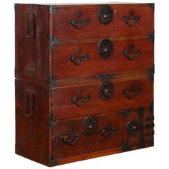Japanese Meiji Period Late 19th Century Tansu Chest in Sendai Isho-Dansu Style