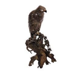 Japanese Meiji Period Mixed Metal Sculpture of a Raptor by Kazan