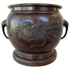 Japanese Meiji Period Onagadori Motif Bronze Hibachi, c. 1900