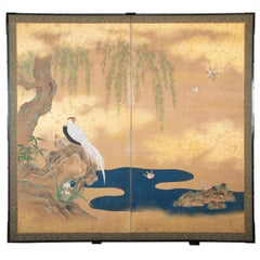 Japanese Meiji Period Painted Screen with Gold Fleck Paint