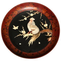 Japanese Meiji Period Shibayama Charger Featuring Cockerel