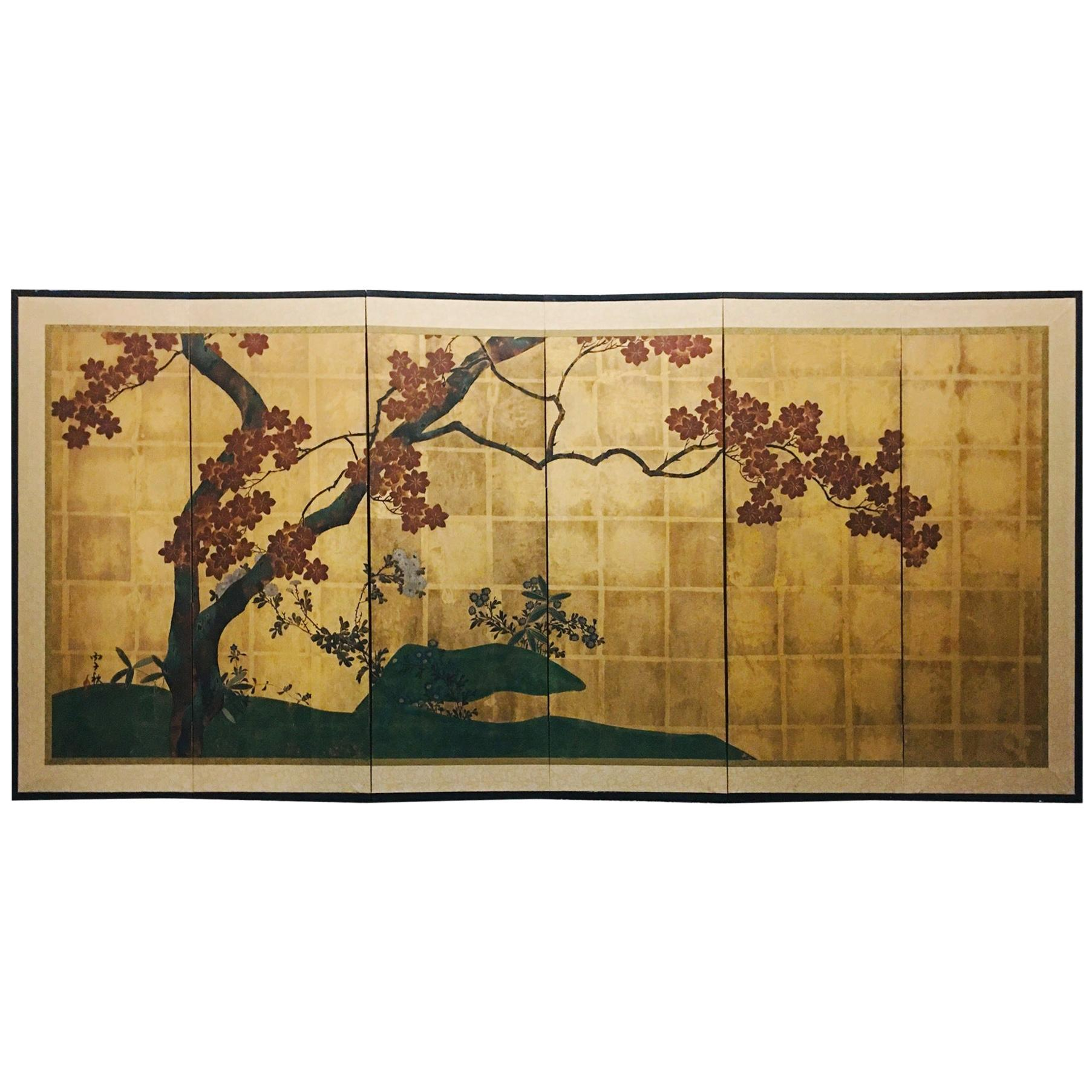 Japanese Showa Period Six-Panel Gilt Screen with Blooming Cherry Tree