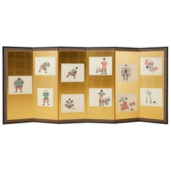 Japanese Meiji Period Six-Panel Screen Samurai Armour