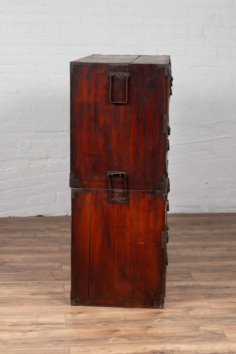 Japanese Meiji Period Two-Part Tansu Clothing Chest with Butterfly Motifs For Sale 6