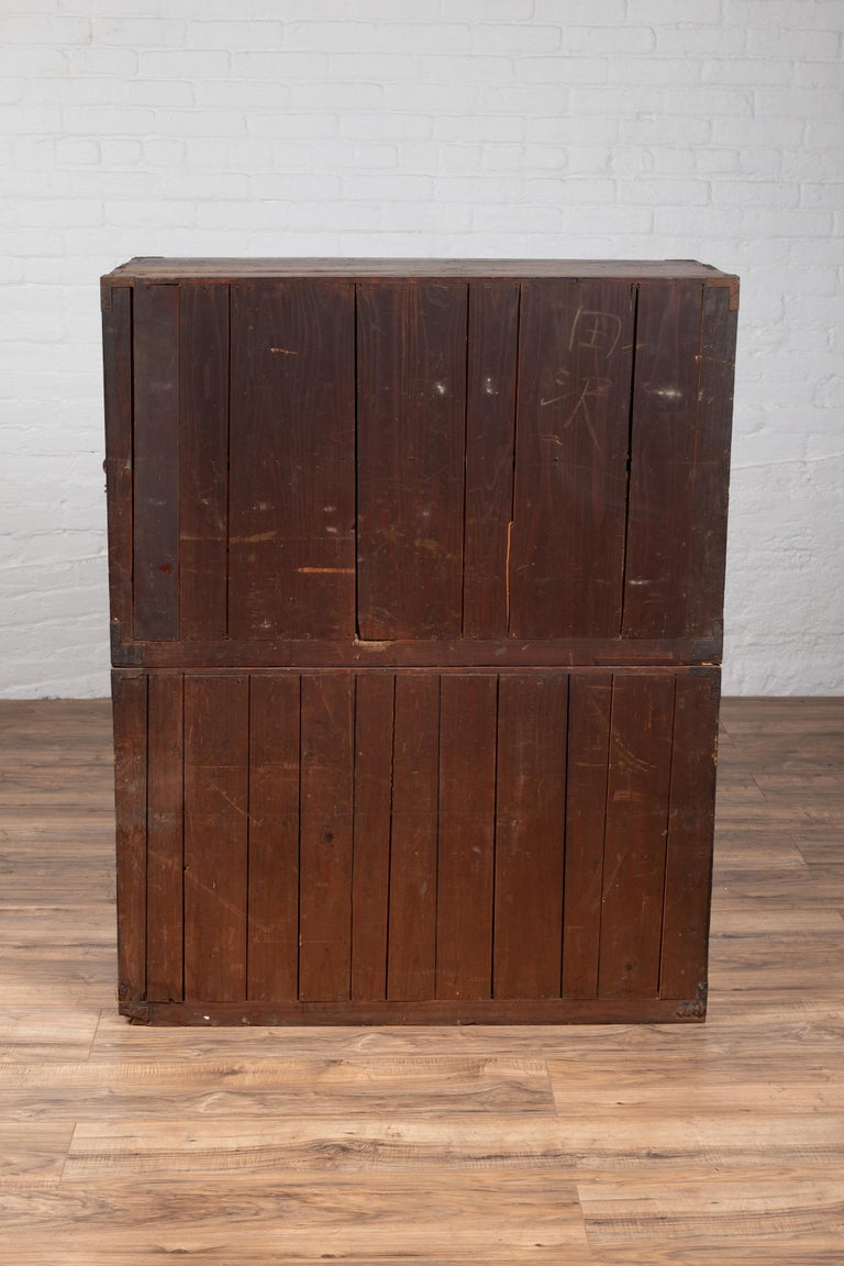 Japanese Meiji Period Two-Part Tansu Clothing Chest with Butterfly Motifs For Sale 7
