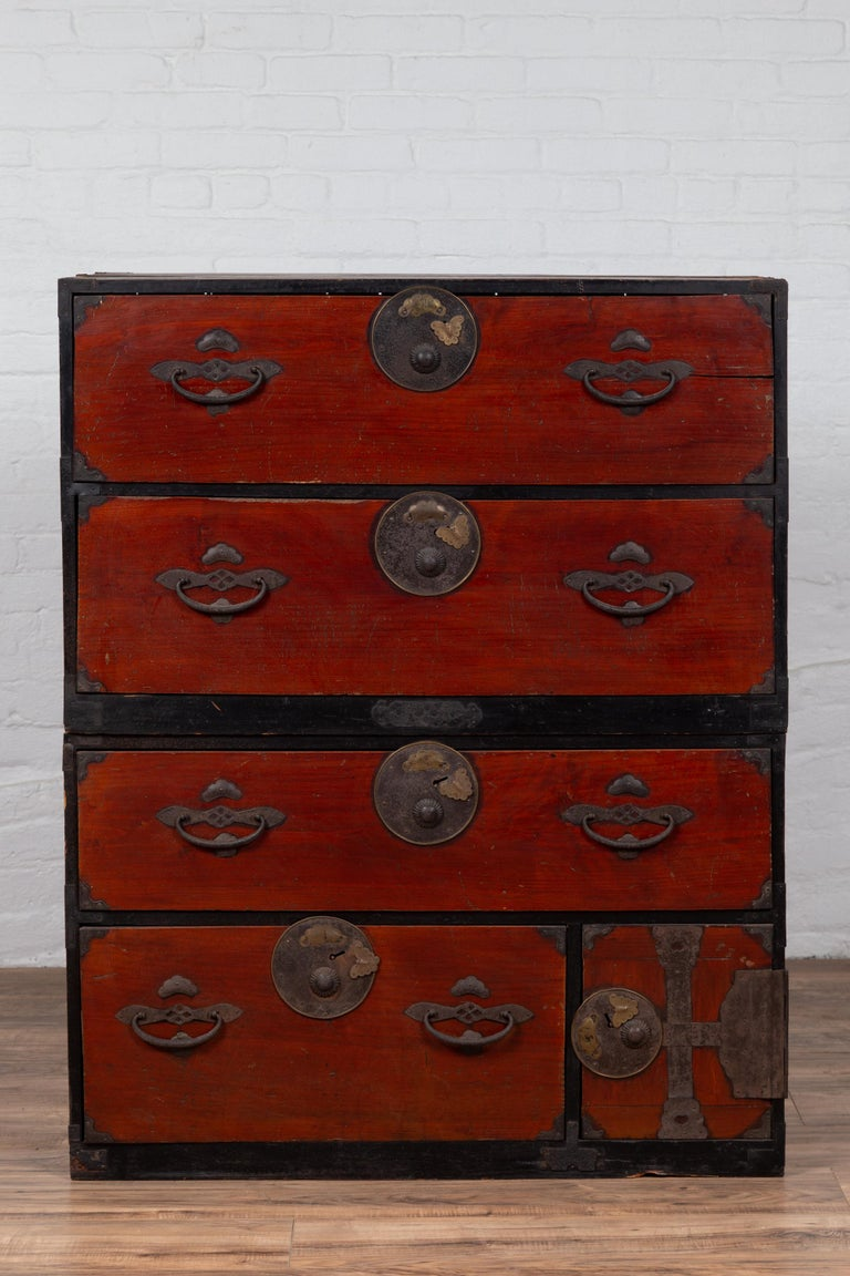 Japanese Meiji Period Two-Part Tansu Clothing Chest with Butterfly Motifs In Good Condition For Sale In Yonkers, NY