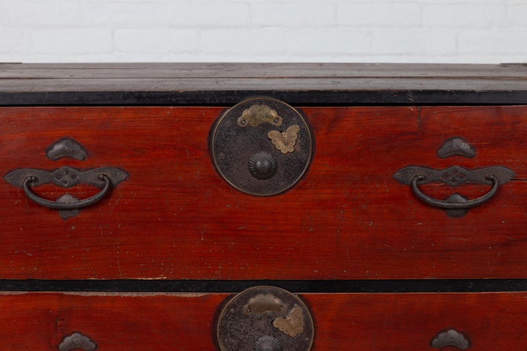 19th Century Japanese Meiji Period Two-Part Tansu Clothing Chest with Butterfly Motifs For Sale