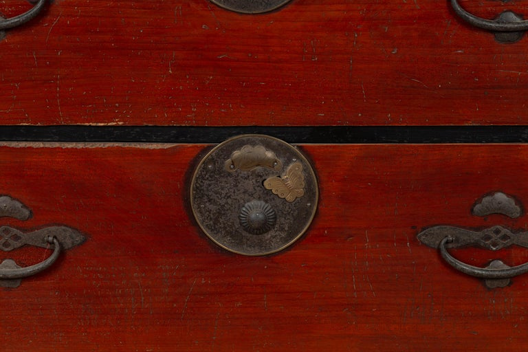 Metal Japanese Meiji Period Two-Part Tansu Clothing Chest with Butterfly Motifs For Sale