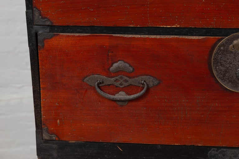 Japanese Meiji Period Two-Part Tansu Clothing Chest with Butterfly Motifs For Sale 1