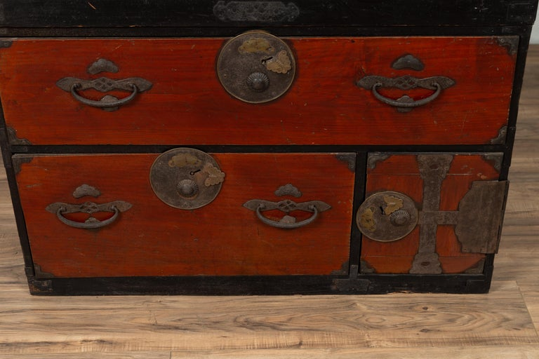 Japanese Meiji Period Two-Part Tansu Clothing Chest with Butterfly Motifs For Sale 2