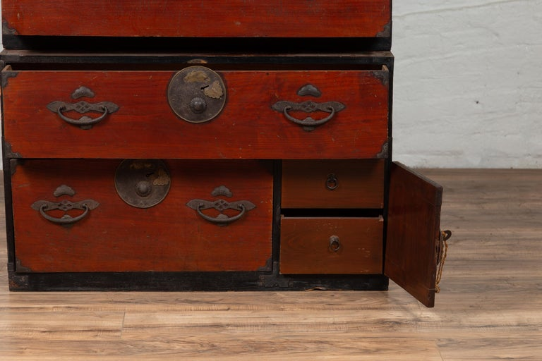 Japanese Meiji Period Two-Part Tansu Clothing Chest with Butterfly Motifs For Sale 4