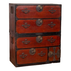 Japanese Meiji Period Two-Part Tansu Clothing Chest with Butterfly Motifs