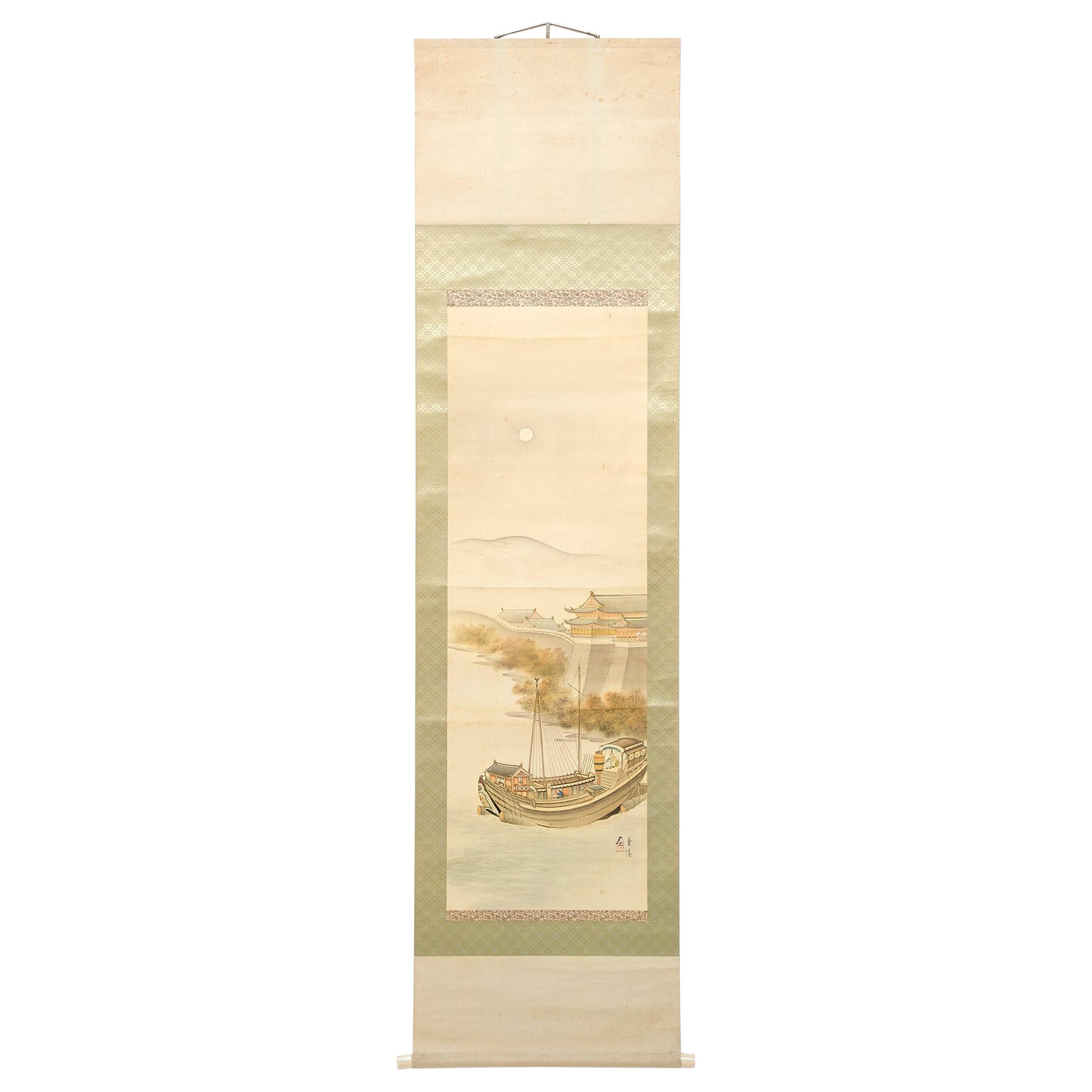 Japanese Meiji Riverside Scroll Painting