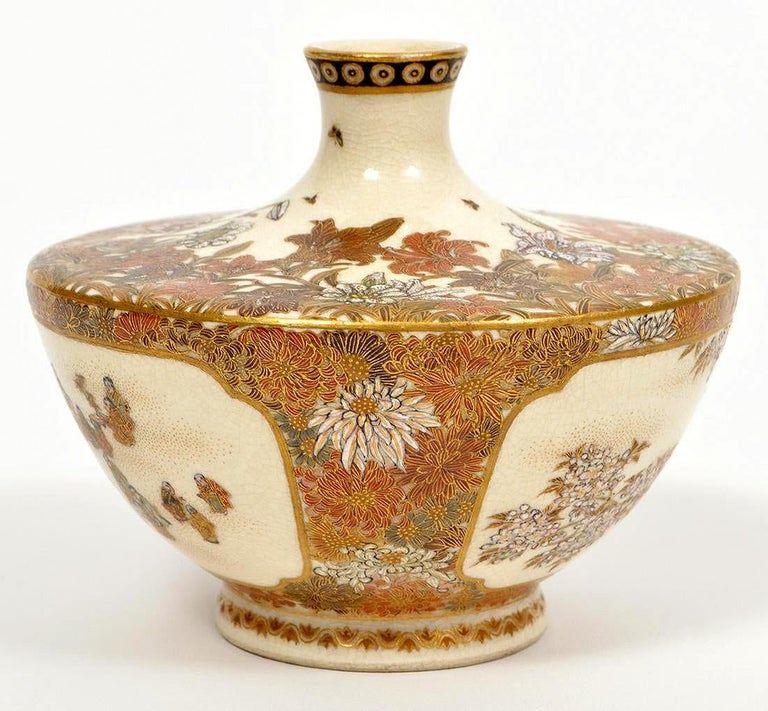 A small Satsuma bud vase from the studio of Yabu Meizan (birth name Yabu Masashichi; 1853-1934), who is one of the most celebrated and collectible Satsuma artists from Meiji Period. From his studio in Osaka, Yabu Meizan oversaw the production of the