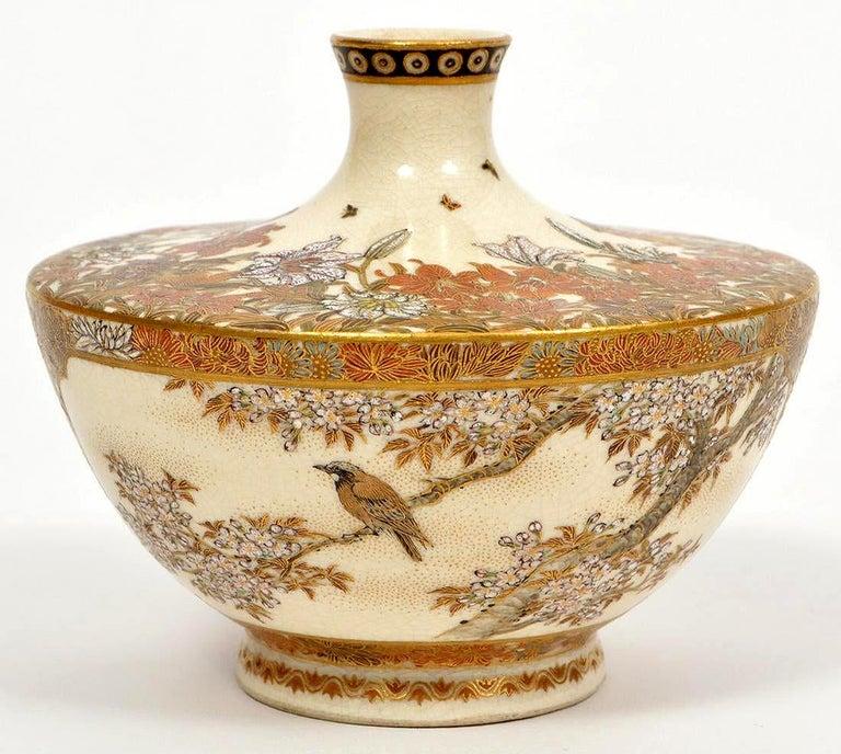 Japonisme Japanese Meiji Satsuma Bud Vase Yabu Meizan For Sale
