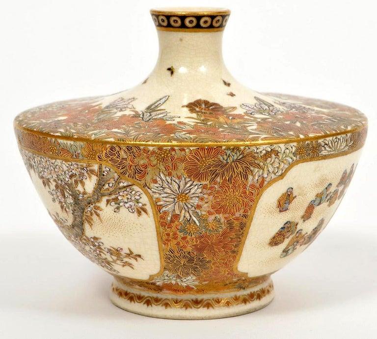 Japanese Meiji Satsuma Bud Vase Yabu Meizan In Good Condition For Sale In Atlanta, GA