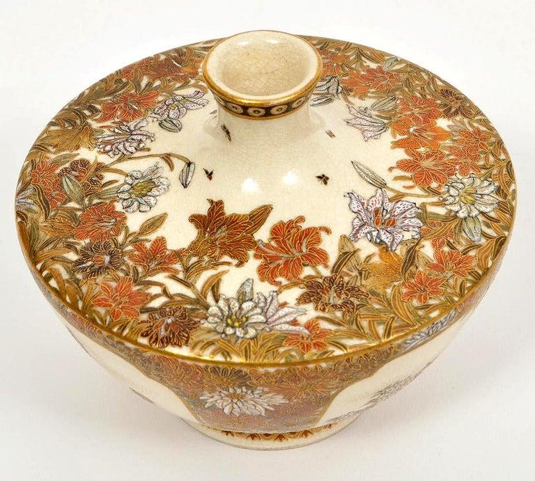 Early 20th Century Japanese Meiji Satsuma Bud Vase Yabu Meizan For Sale