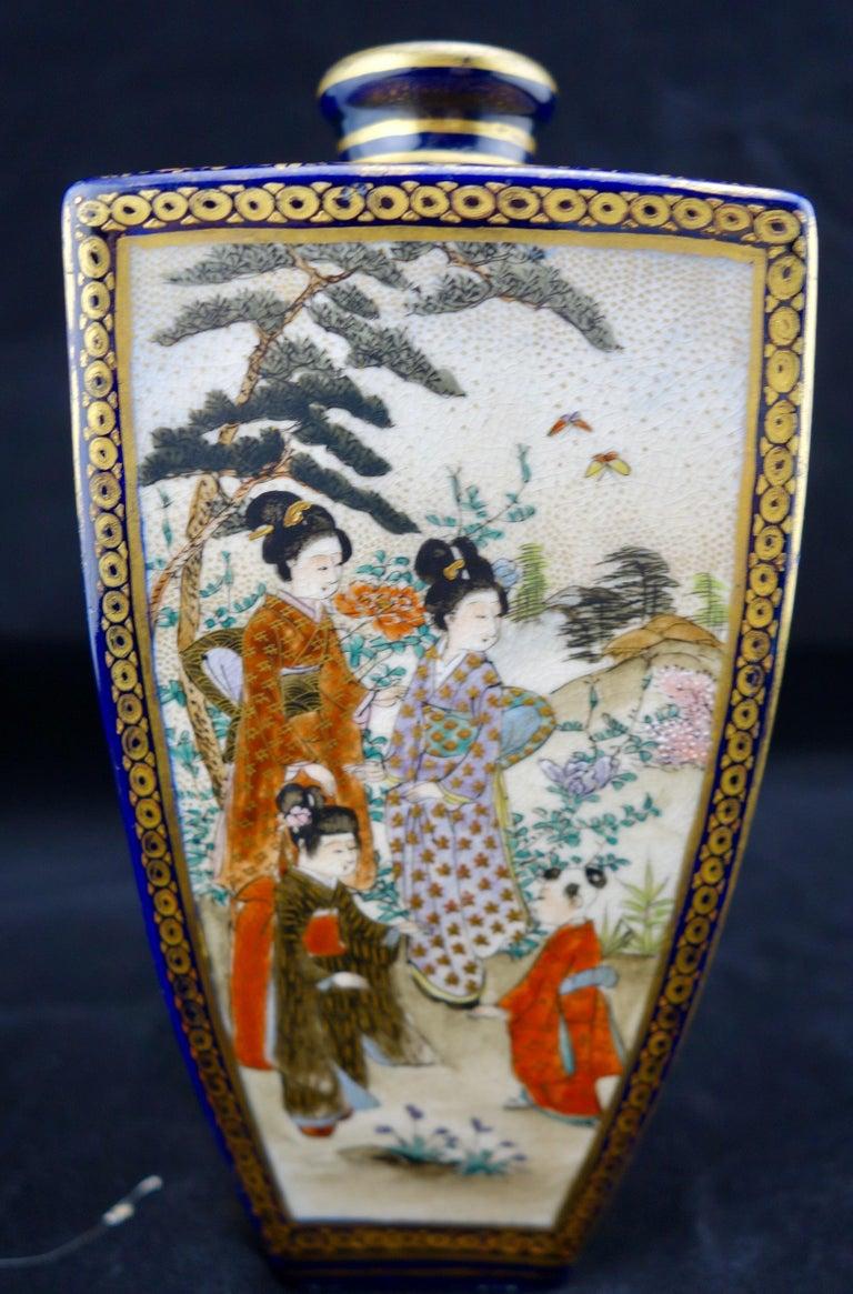 Asian Japanese Meiji Satsuma Polygonal Vase For Sale