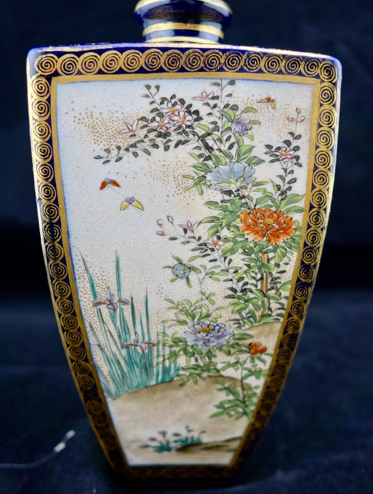 Japanese Meiji Satsuma Polygonal Vase In Good Condition For Sale In Gainesville, FL