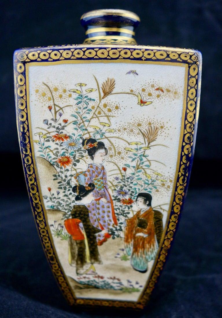 19th Century Japanese Meiji Satsuma Polygonal Vase For Sale