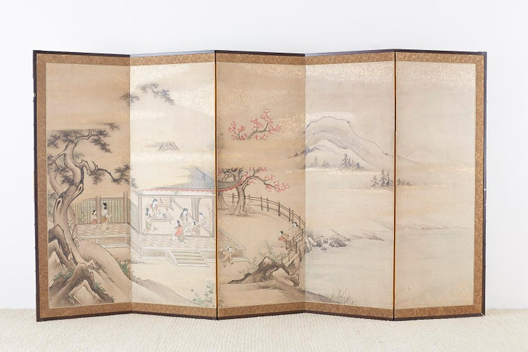 Japanese Meiji Screen Chinese Pagoda with Women and Children For Sale 12