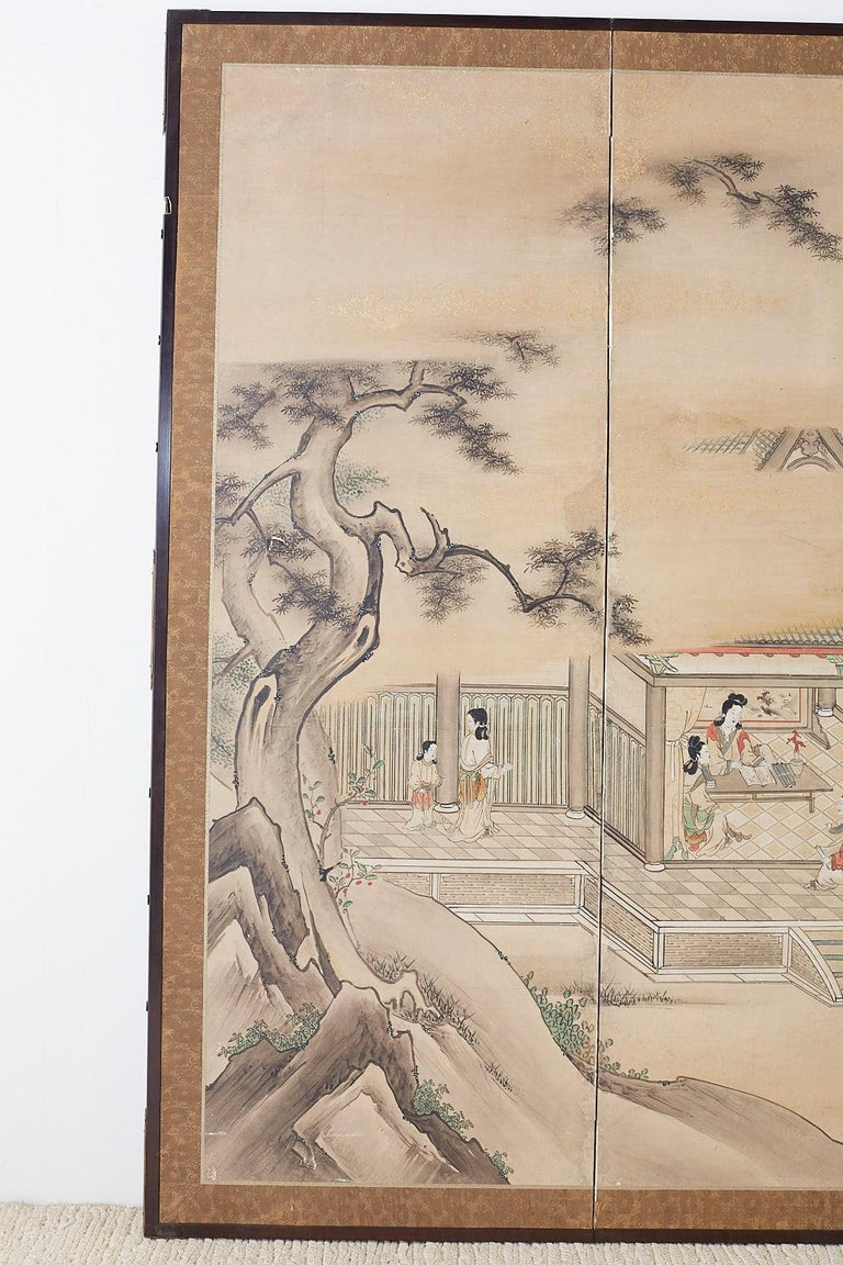 Gilt Japanese Meiji Screen Chinese Pagoda with Women and Children For Sale