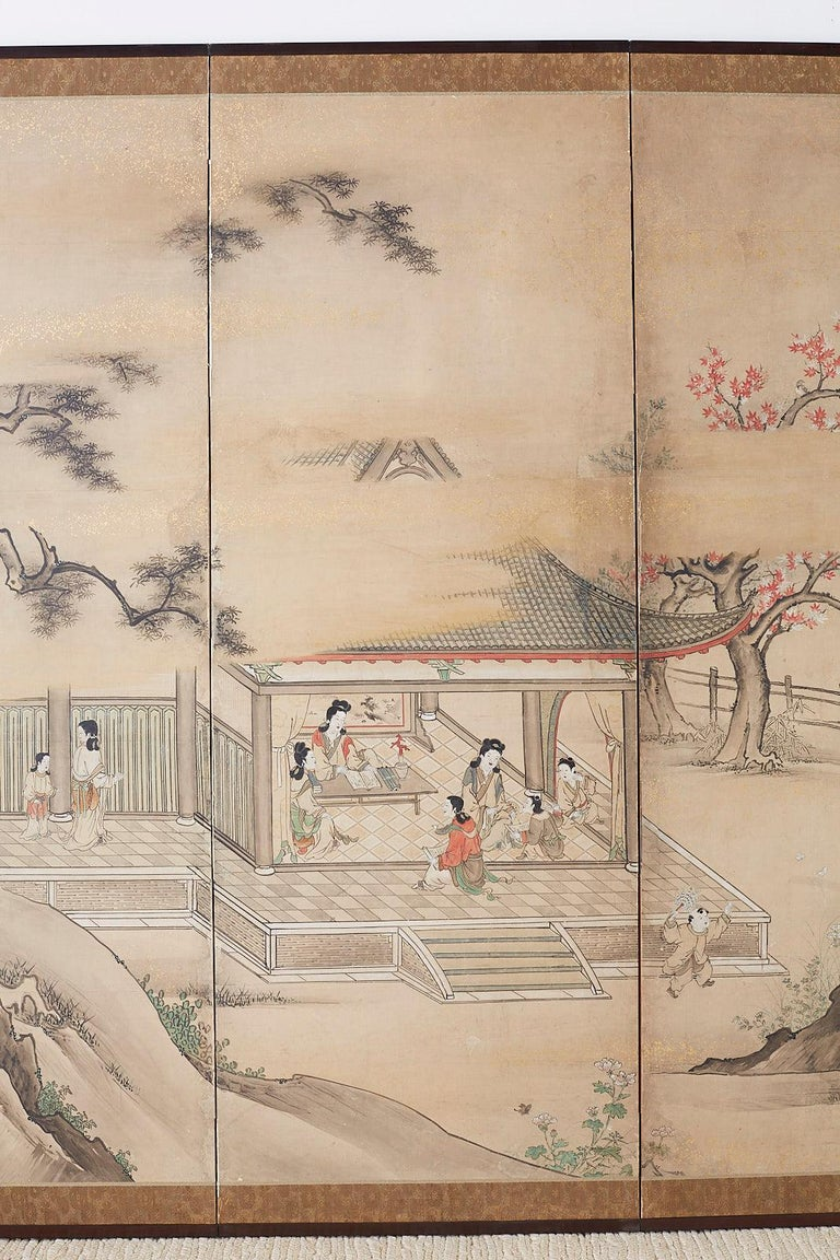 Japanese Meiji Screen Chinese Pagoda with Women and Children In Distressed Condition For Sale In Oakland, CA