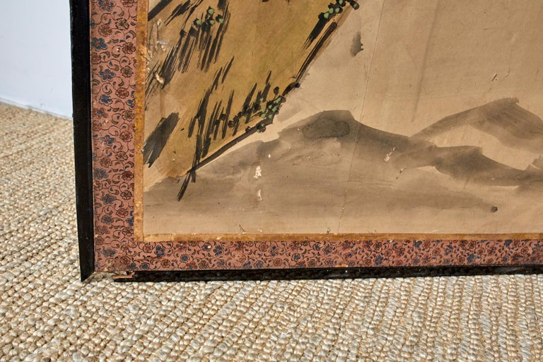Japanese Meiji Six Panel Screen Chinese Sage on Donkey For Sale 7
