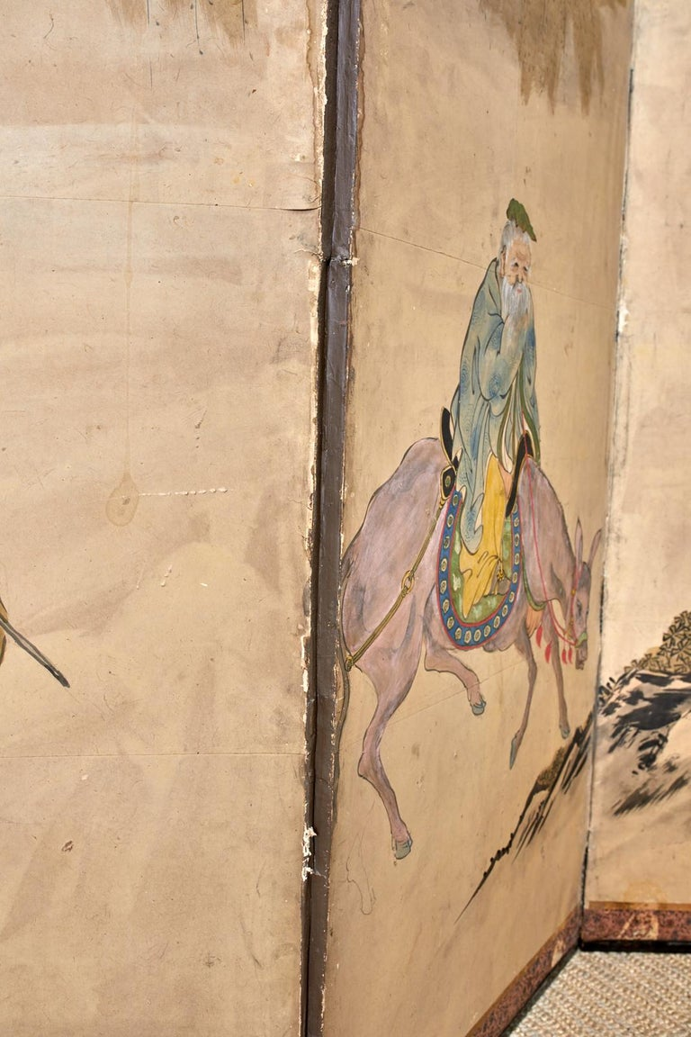 Japanese Meiji Six Panel Screen Chinese Sage on Donkey For Sale 8