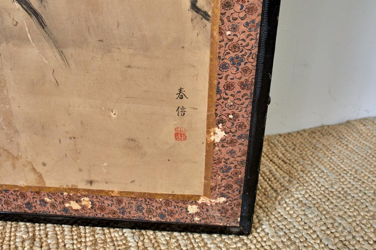 Japanese Meiji Six Panel Screen Chinese Sage on Donkey For Sale 11