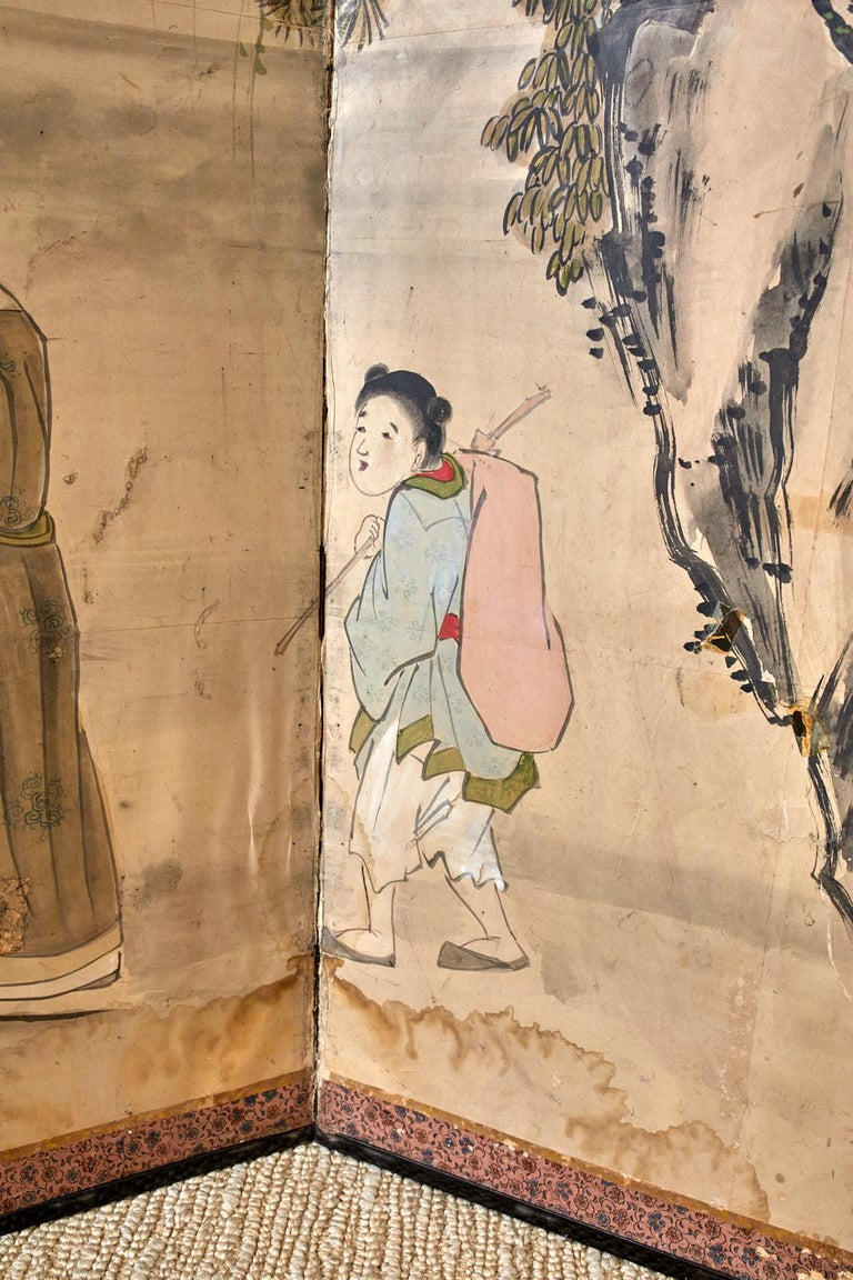 Japanese Meiji Six Panel Screen Chinese Sage on Donkey For Sale 12