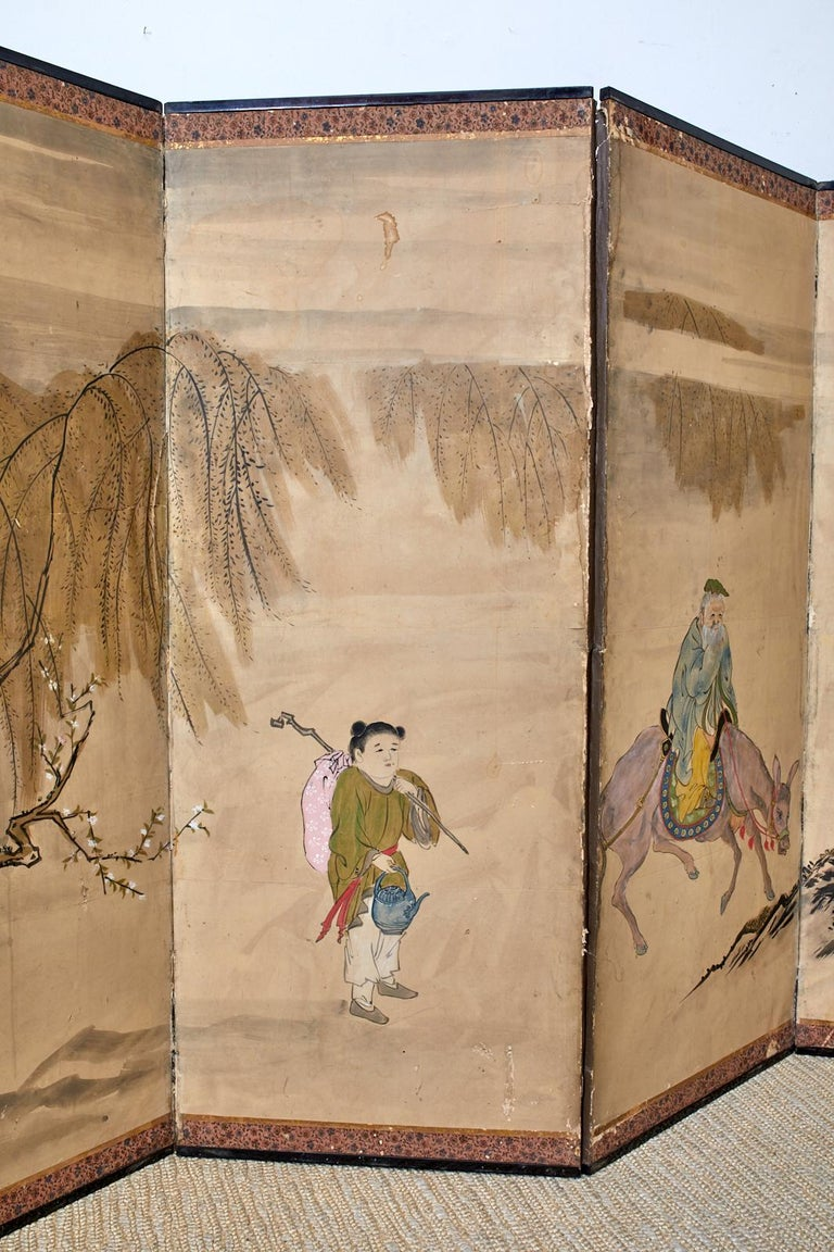 Hand-Crafted Japanese Meiji Six Panel Screen Chinese Sage on Donkey For Sale