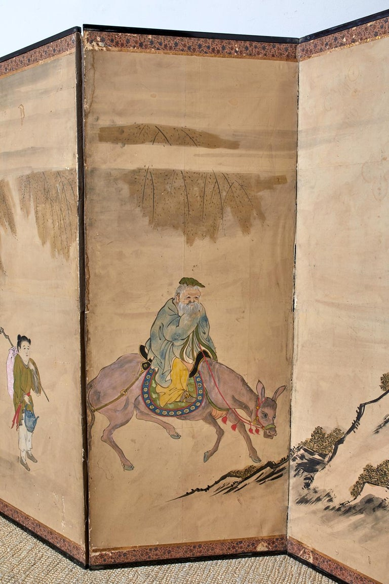 Japanese Meiji Six Panel Screen Chinese Sage on Donkey In Distressed Condition For Sale In Oakland, CA