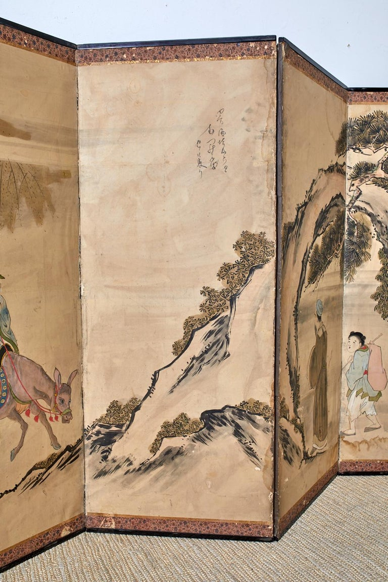 19th Century Japanese Meiji Six Panel Screen Chinese Sage on Donkey For Sale